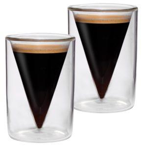 Espressogläser doppelwandig: 2er-Set 65ml doppelwandige Espresso- und Schnapsgläser im Spitzglasdesign